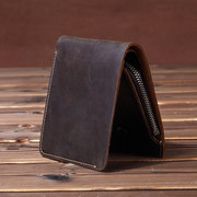 Bifold Cowhide Genuine Leather Short Wallet Slim Coin Purse
