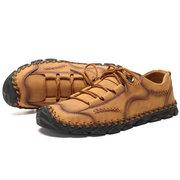 Grande taille Classic Main couture Soft Chaussures en cuir en microfibre