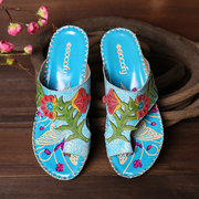 SOCOFY Bohemia Pattern Handmade Stitching Genuine Leather Clip Toe Forest Sandals