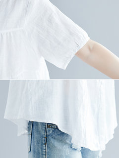 Casual Solid Color Irregular Hem Button Short Sleeve Blouse