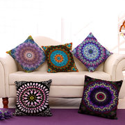 Mandala Pattern Printing Cotton Linen Sofa Cushion Pillow Cover Waist Cushion Cover Bags