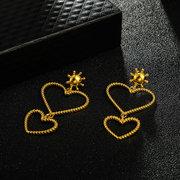 Moda Exagerada Geométrica Pêssego Coração Brincos Metal Em Forma De Amor Pingente Brincos
