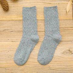 Women Solid Color Thick Cotton Cute Socks Crew Winter Vintage Casual Comfortable Socks