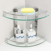 2 Layers Glass Bathroom Double Layer Stainless Steel Wall - Mounted Tripod Storage Rack