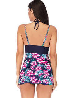 Plus Size Halter Printed Floral Patchwork Cover Belly Swimdresses For Women