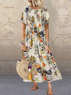 Pleated Leaves Floral Print Vintage Dress For Women