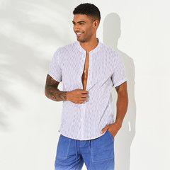 Mens Freshness Pinstripe Stand Collar Único Breasted Short Sleeve Loose Shits