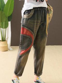 Lässige aufgesetzte Taschen Elastische Taille Denim