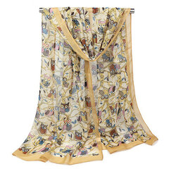 160CM Fashion Scarf Cute Owl Print Scarfs For Women Autumn Chiffon Shawl Animal Scarves