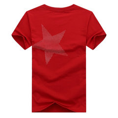 Stylish Star Printing O-neck Short Sleeve Regular Fit Casual Cotton T Shirts