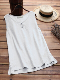Frauen Vintage Frosch Sleeveless Pure Color Tank Top