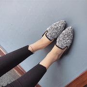 Bling Pointed Backless Flat Shoes