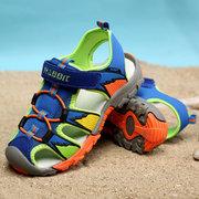 Jungen Farbabstimmung Baotou Patchwork Hook Loop Rutschfester Strand Sandalen