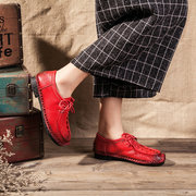 SOCOFY Retro Handmade Stitching Soft Leather Casual Flat Shoes