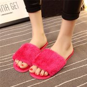 7216701749c87 Comfortable Furry Peep Toe Warm Floor Indoor Flat Slip On Slippers ...
