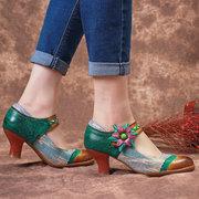 SOCOFY Bohemia Padrão Splicing Weave Floral Gancho Loop Couro Genuíno Bombas