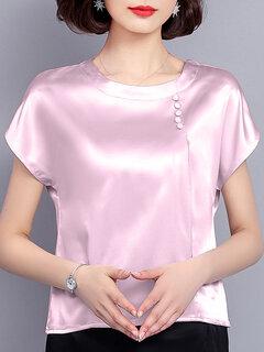 Camisetas ocasionales de manga corta con ribetes lisos en color puro