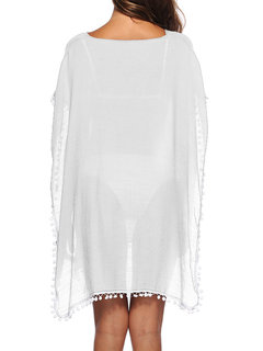 Deep Side Split Tassel Solid Color Cover Ups Sunscreen Swimsuits For Women