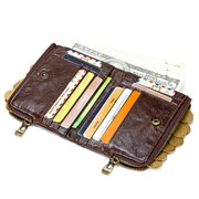 RFID Genuine Leather Casual 10 Card Slot Multifunction Wallets Double Zipper  Men Coin Bag