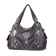 Women Multi-pockets Washed PU Leather Handbag Solid Casual Shoulder Bag