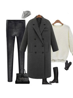Solid Color Autumn Winter Notch Collar Long Sleeve Straight Coat