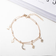 Fashion Sweet Gold Anklets Beads Moon Star Multilayer Chain Barefoot Sandals Anklets for Girls Women