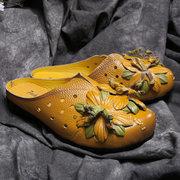 Pantofole a punta chiusa per donna in pelle fatti a mano