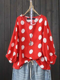 Polka Dot Bubble Long Sleeve Plus Größe Bluse