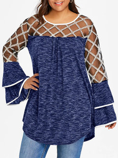 Mesh Patchwork Long Sleeve See-through Blouse For Women