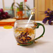 Iris Flower Tea Cup Elegant Glass Cup Enamel Drinkware