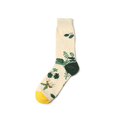Men Autumn Warm Cotton Middle Tube Socks Casual Flowers And Birds Graffiti Socks
