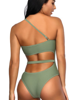 Cut Out Single Strap Backless Solid Color Slimming One Piece Swimsuits For Women