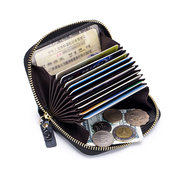 RFID Women Genuine Leather Embossed Print Wallet 10 Card Slot Coin Purse