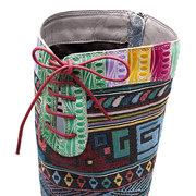SOCOFY بوهيميا جلد الخراف جلدية الربط الجاكار جولة اصبع القدم أحذية منخفضة الكعب زيبر لينة الركبة