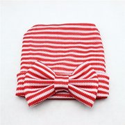 Baby Girls Cute Hat Soft Stripe Cap Hospital Beanie Hat With Lovely Bow