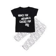 Funny Letters Unisex Baby Summer Clothing Set For 0-24M