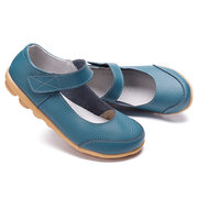 Big Size Hook Loop Pure Color Flat Ballet Soft Comfortable Leather Loafers Shoes