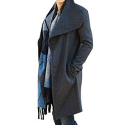 Men Winter Warm Mid Long Coat Lapel Collar Solid Color Long Sleeve Trend Coat