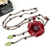Ethnic Body Jewelry Leather Flower Tassel Long Necklace Waist chain Ladies Belt