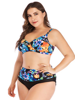 Plus Size Front Twisted Floral High Waist Printed Backless Sexy Bikinis Swimsuits For Women