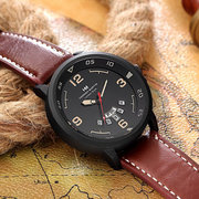 Trendy Stainless Steel Mens Watches Fashion Calendar Quartz 30M Waterproof Leather Watches for Men