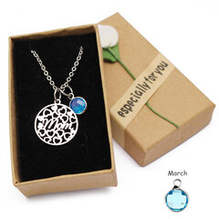 Women's Hollow Heart Love Mom Crystal Birthstone Pendant Stainless Steel Charm Necklace Gift