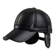 Men Cowhide PU Leather Baseball Cap Earflaps Earmuff Bomber Snapback Adjustable Hat Peaked cap