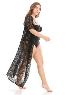 Plus Size Lace Hollow Swimsuits Women Cover Ups Breathable Cardigan Transparent Swimwear