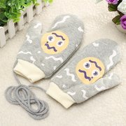 Women Girls Cute Cartoon Pattern Cotton Blend Gloves Full Finger Fleece Lining Mittens