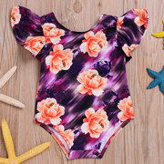 Floral Printed Girls Swimwear Strap One-Piece Jumpsuit Tankini Swim Wear Children Swimsuit