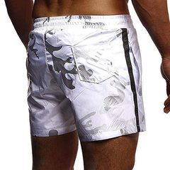 Mens Camo Beach Board Shorts Waterproof Side Zip Up Pocket Line Sports Pants