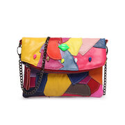 Women Genuine Leather Coloful Patchwork Zipper Crossbody Bags Shoulder Bags