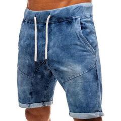 Mens Vintage denim elástico na cintura Drawstring Splice bolsos Casual Shorts