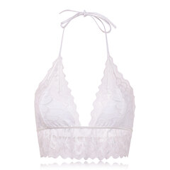 Sexy Triangle Bralettes Deep Plunge Halter Lace-trim Backless Bras